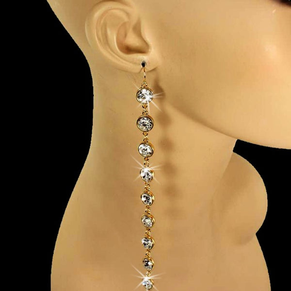 "6"" Long Bezel Set Crystal Dangle Earrings Gold"