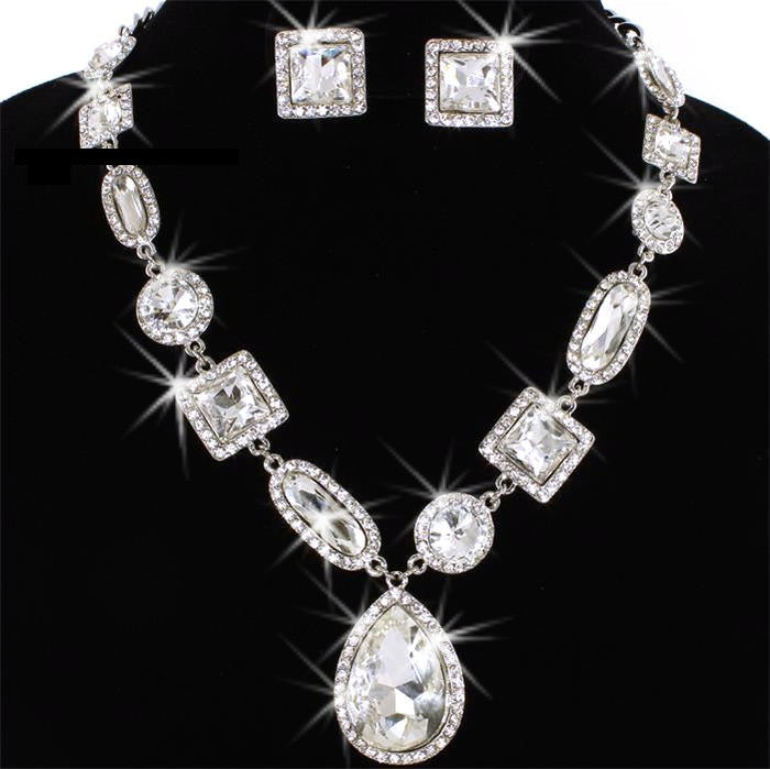 Princess Halo Pave Crystal Tennis Necklace Earring Set