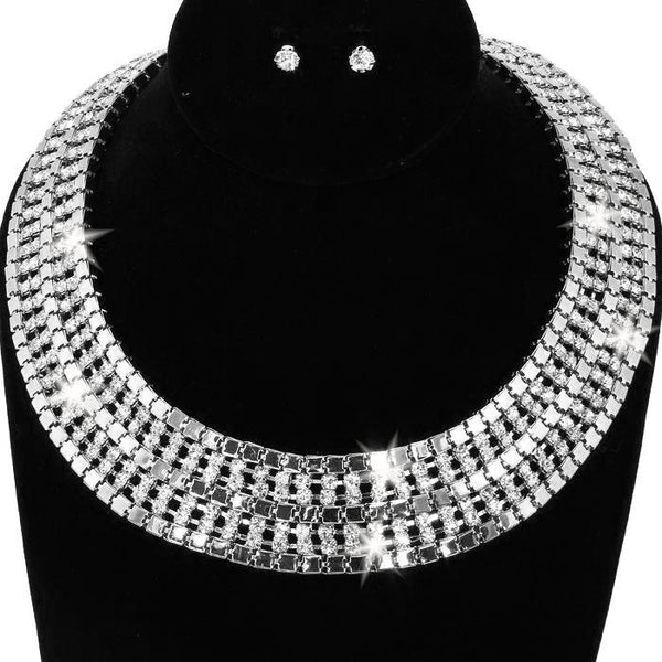 7-Line Pave Crystal Link Necklace & Earring Set