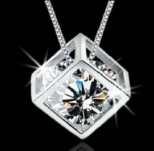 Rubiks Cube CZ Pendant Necklace & Earring Set