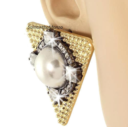 Pearl Crystal Gold & Black Triangle Statement Earrings