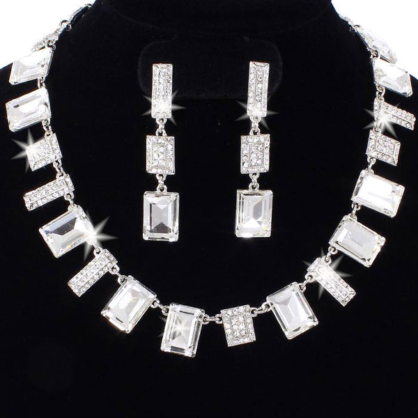 Emerald Cut & Pave Crystal Necklace & Earrings