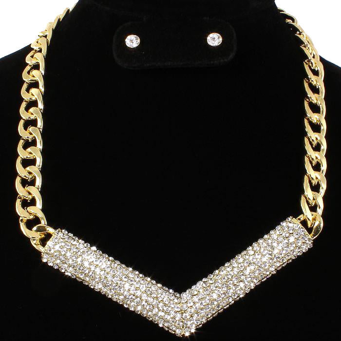 Pave Set Crystal BLING Necklace Earring Set Gold