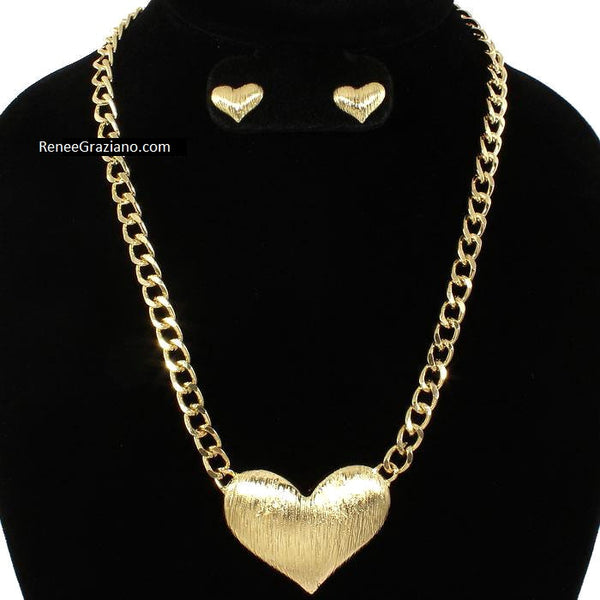 Gold Puffed Heart Link Necklace & Earring Set