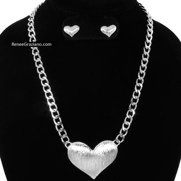 Silver Puffed Heart Link Necklace & Earring Set