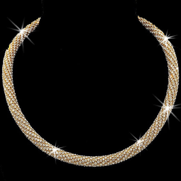 Gold Pave Crystal Rope Mesh Chain Tennis Necklace