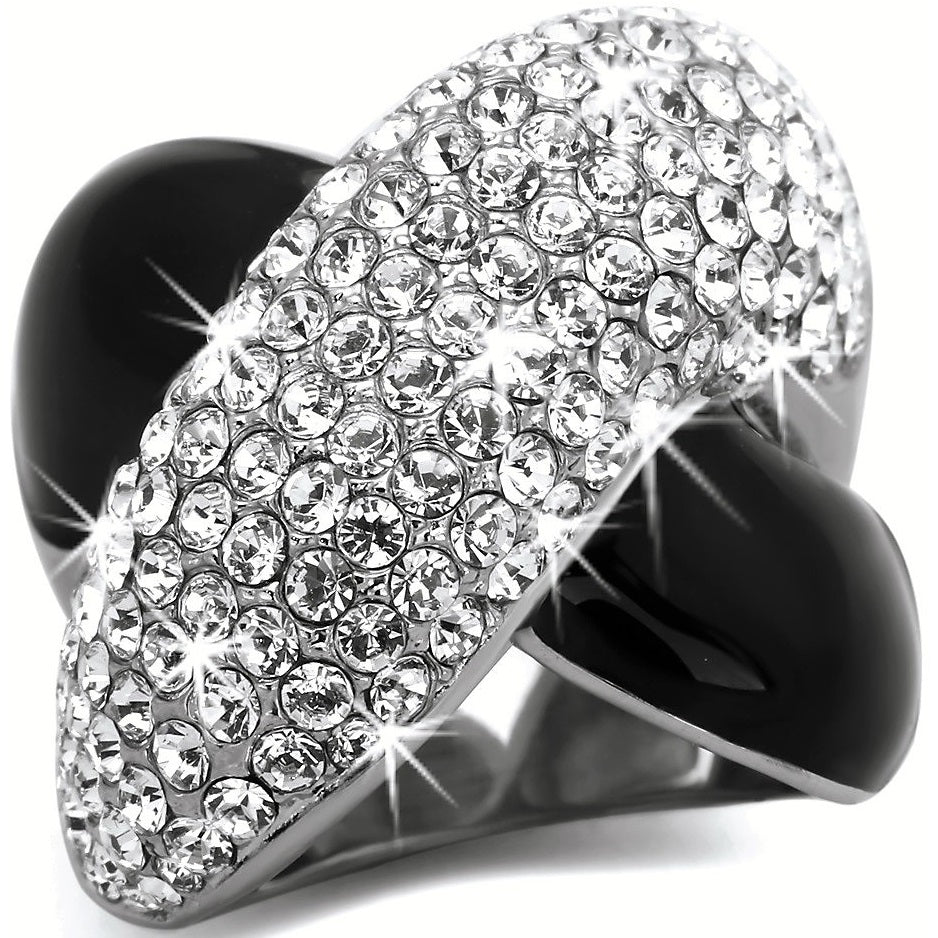 Black Silver Pave Crystal Crossover Ring