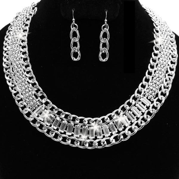 Chain Link Emerald Cut Crystal Necklace & Earrings