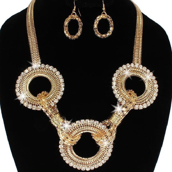 Pave Crystal Circle Necklace & Earring Set