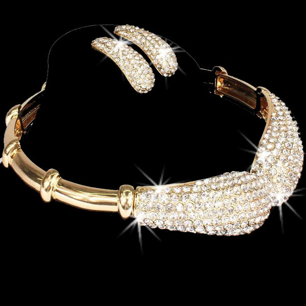 Bold Gold Pave Bling Crystal Choker Earrings Set