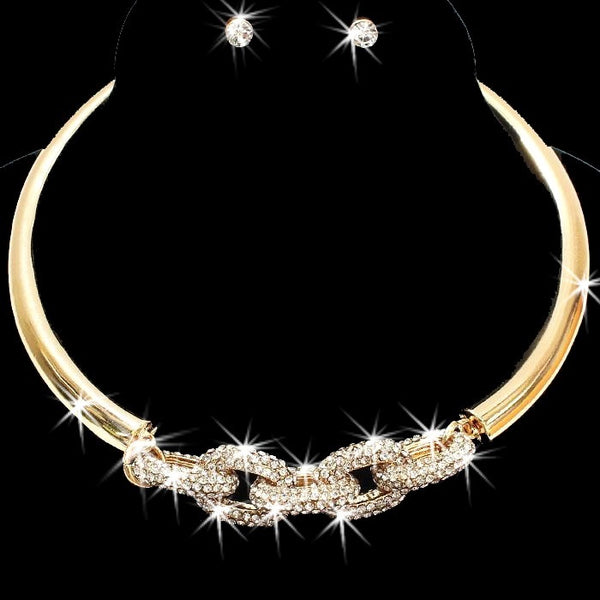 Gold Chain Link Pave Crystal Choker Earrings Set