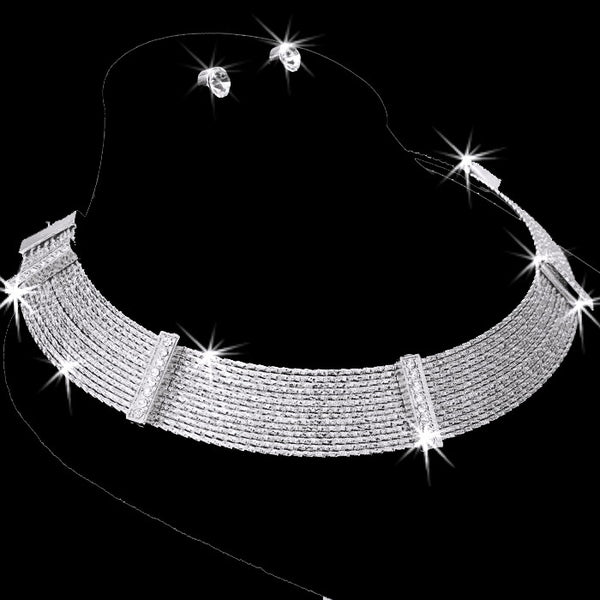 Diamond Cut Pave Crystal Cleopatra Necklace Earring Set