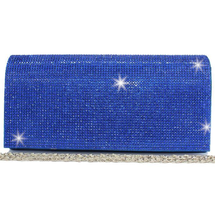 BLING Sapphire Blue Crystal Mini Clutch Bag