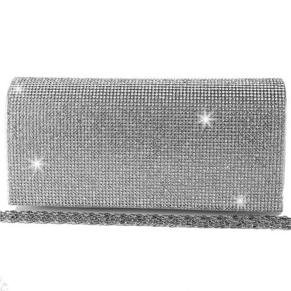 BLING Silver Diamond Crystal Mini Clutch Bag