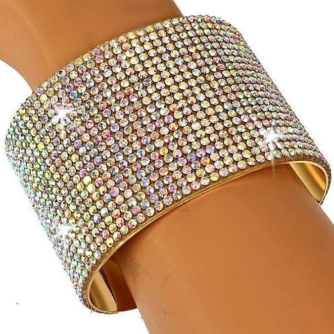 Aurora Borealis Bling Pave Crystal Cuff Bangle
