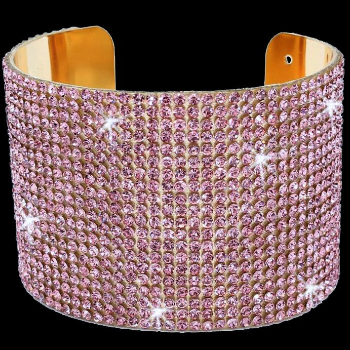 Pink Bling Pave Crystal Cuff Bangle