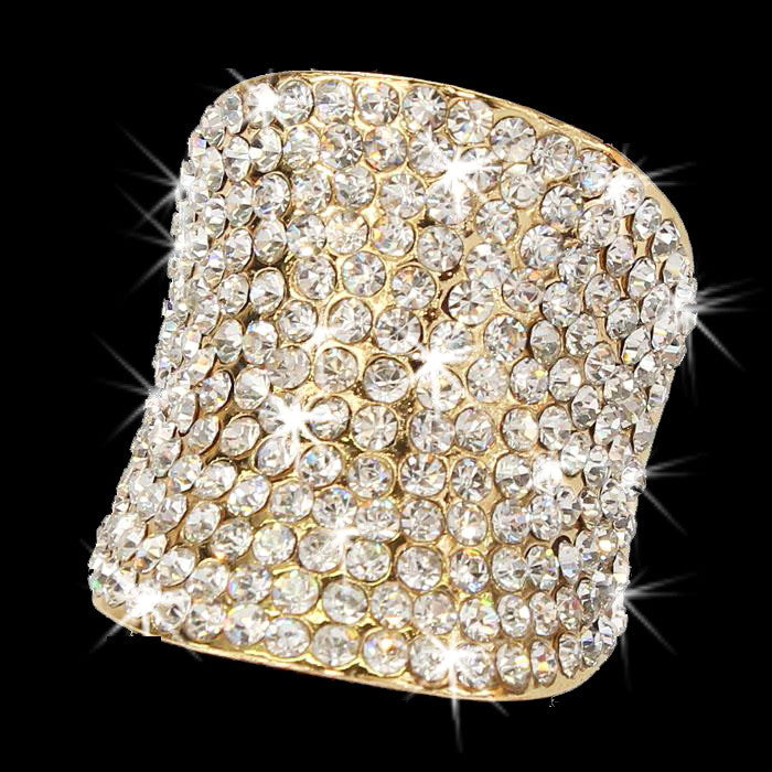 Gold Bling Pave Crystal Dome Ring