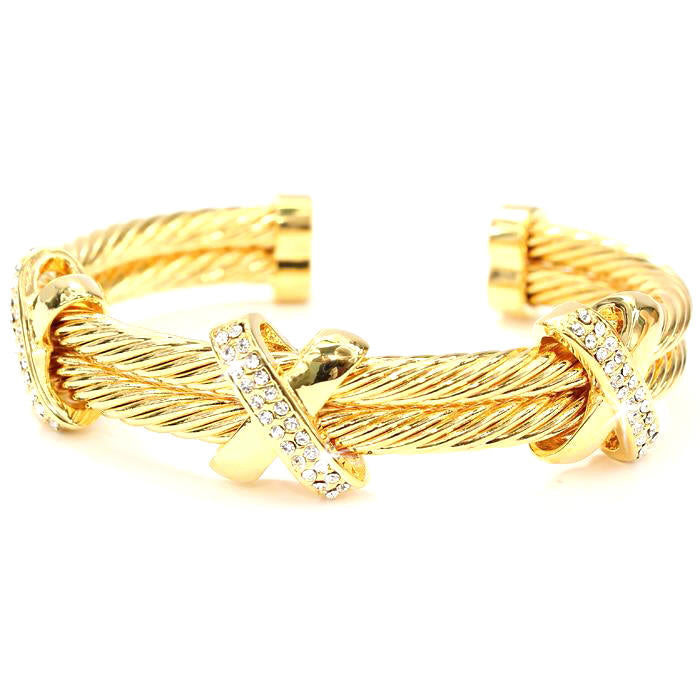 Gold Pave Cz Diamond X Cuff Cable Bracelet