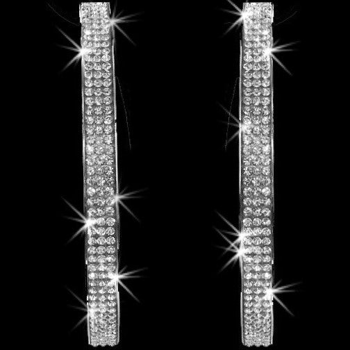 "3.25"" Pave Crystal Bling Hoop Earrings Silver"