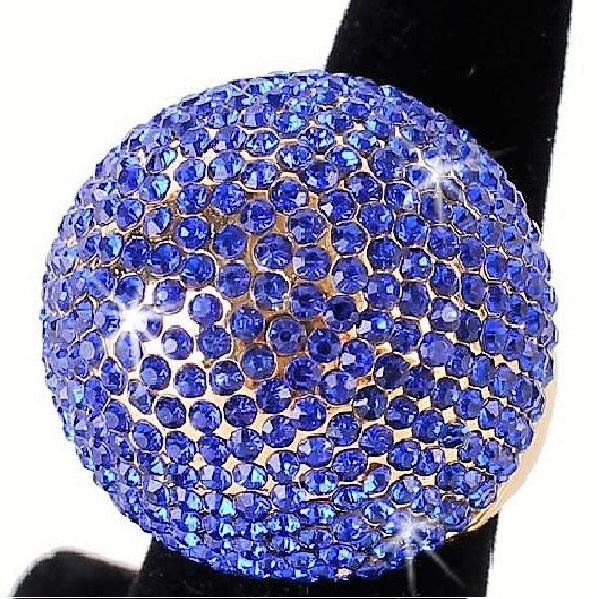 Royal Blue Bling Pave Crystal Dome Ring