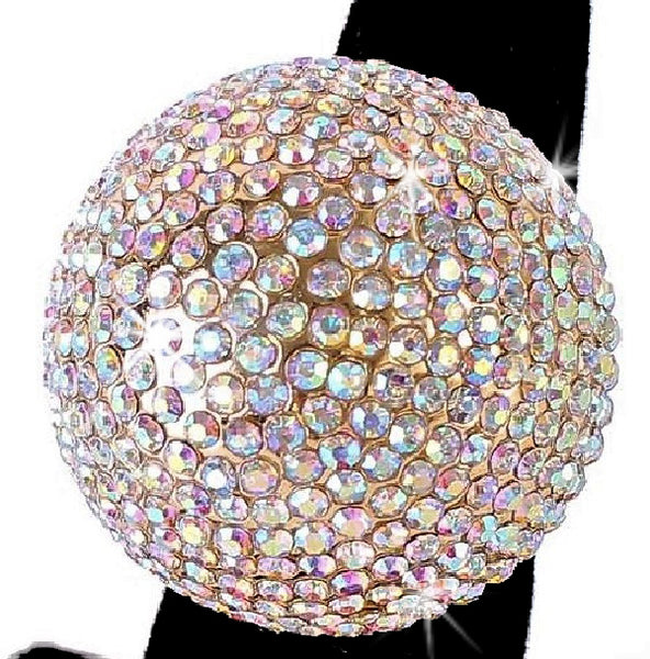 Borealis Rainbow Bling Pave Crystal Dome Ring