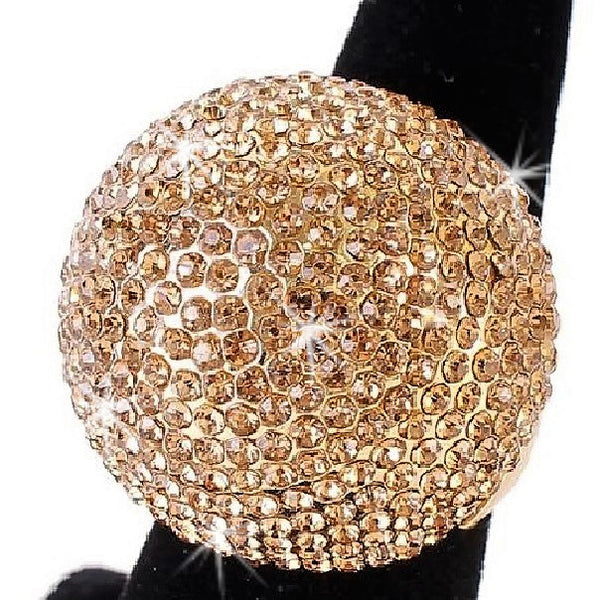 Gold Topaz Bling Pave Crystal Dome Ring