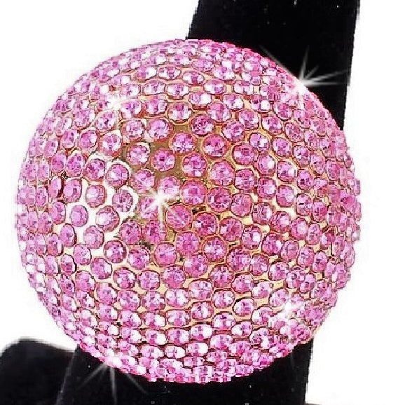 Pink Ice Bling Pave Crystal Dome Ring