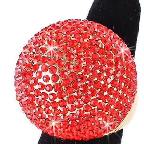 Ruby Red Bling Pave Crystal Dome Ring