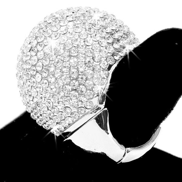 Silver Bling Pave Crystal Dome Ring