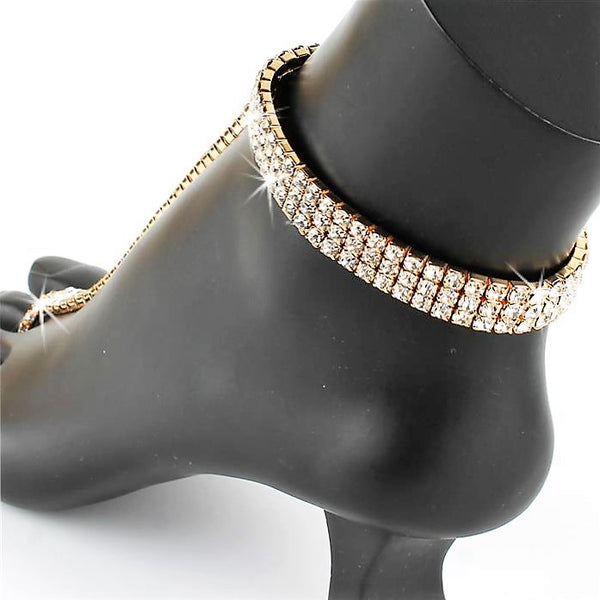 3-Line Crystal Stretch Anklet TOE Ring Bracelet Anklet Gold