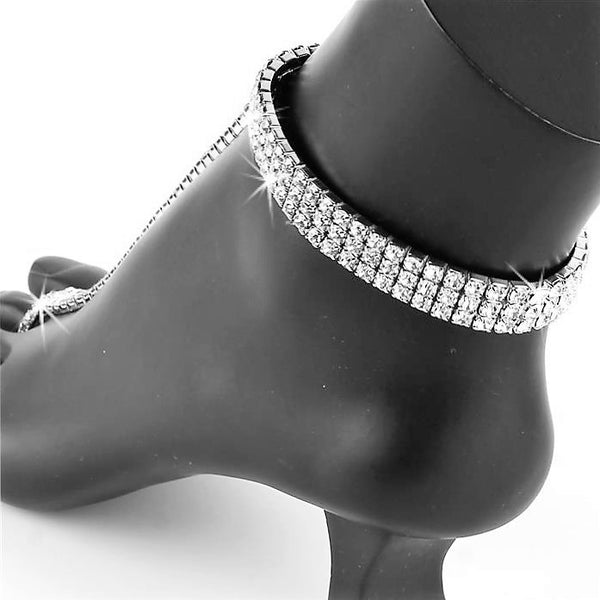 3-Line Crystal Stretch Anklet TOE Ring Bracelet Anklet Silver