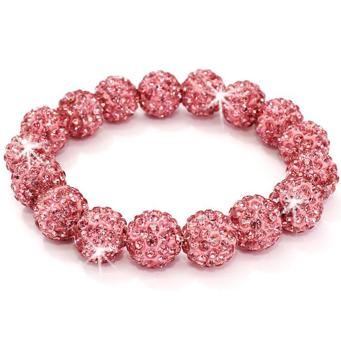 Pink Pave Crystal Disco Ball Bracelet
