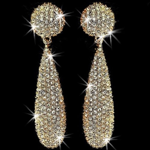 "3"" Long Pave Crystal Chandelier Dangle Earrings Gold"