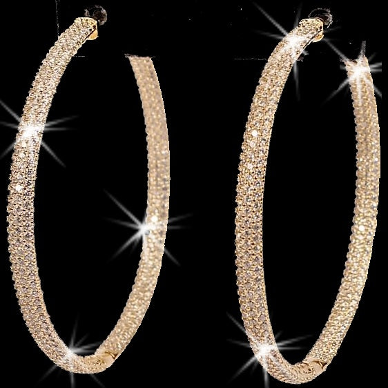 "2.4"" Micro Pave CZ Hoop Earrings Yellow Gold"
