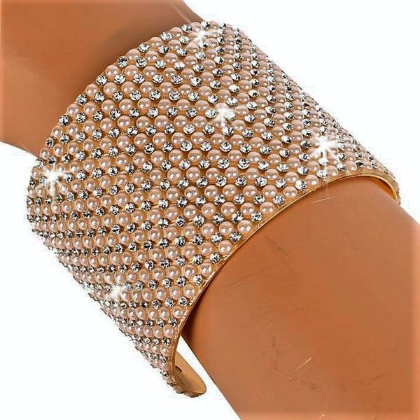 Pave Crystal & PEARL Cuff Statement Bracelet Gold