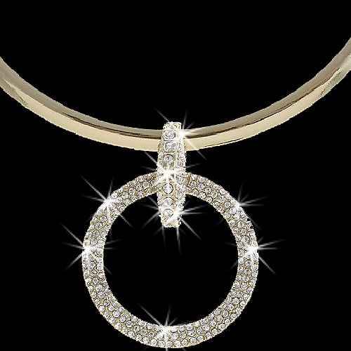 Gold Pave Crystal Circle Link Necklace Earring Set