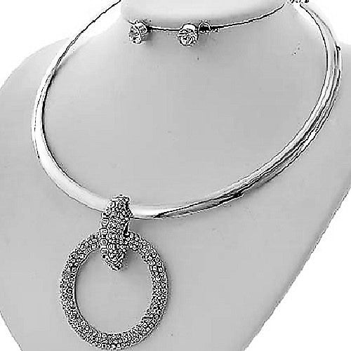 Silver Pave Crystal Circle Link Necklace Earring Set