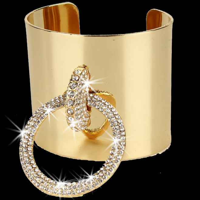 Gold Bling Pave Crystal Buckle Cuff Bangle