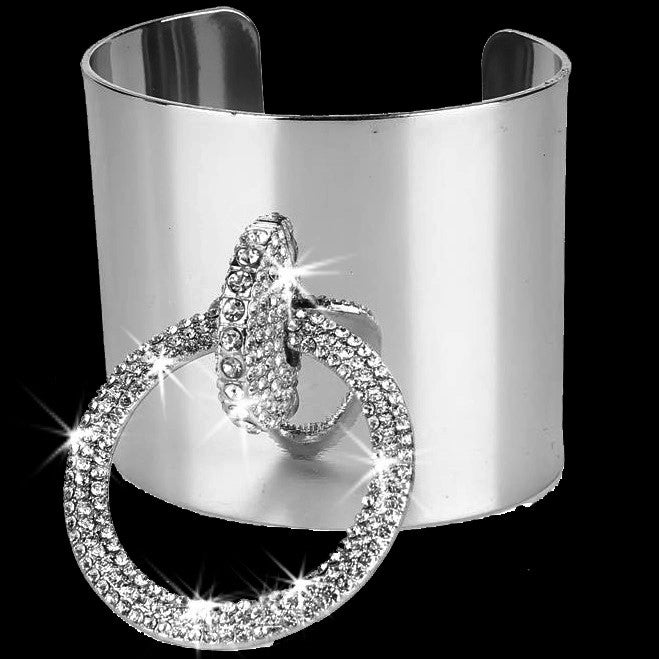 Silver Bling Pave Crystal Buckle Cuff Bangle