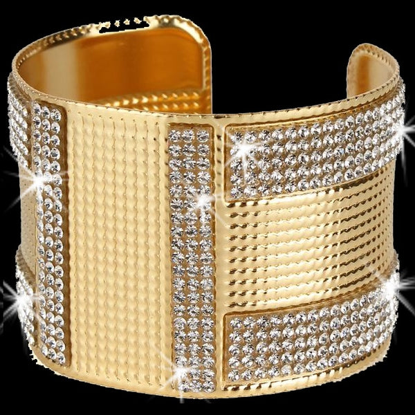 Gold Bling Pave Crystal Etched Cuff Bangle