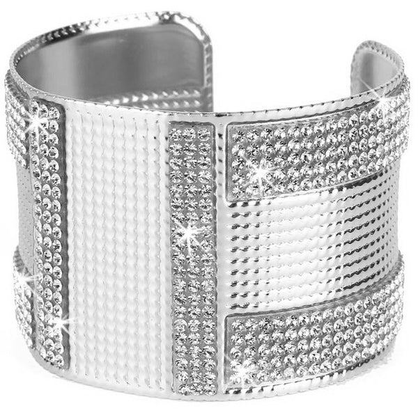 Silver Bling Pave Crystal Etched Cuff Bangle