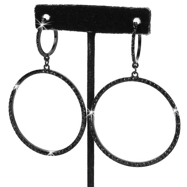 "3"" Long Pave Crystal Circle Dangle Earrings Black"