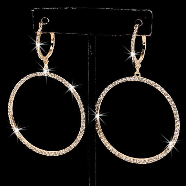"3"" Long Pave Crystal Circle Dangle Earrings Gold"