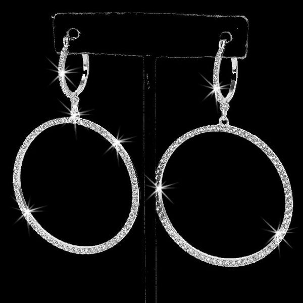 "3"" Long Pave Crystal Circle Dangle Earrings Silver"