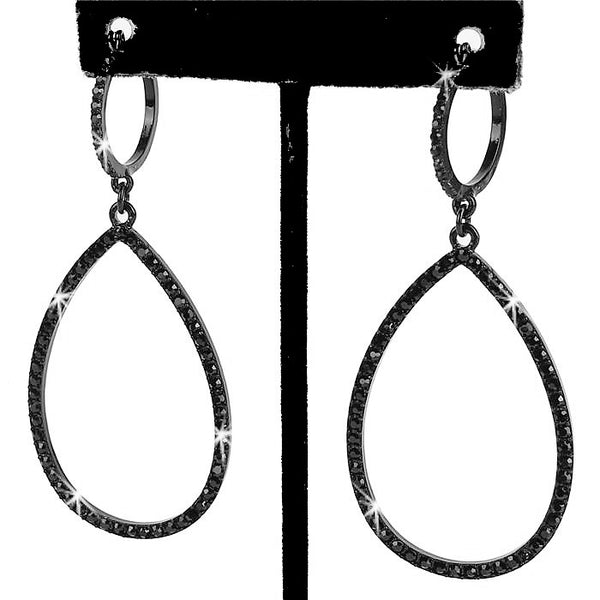 "3"" Long Pave Teardrop Circle Dangle Earrings Black"