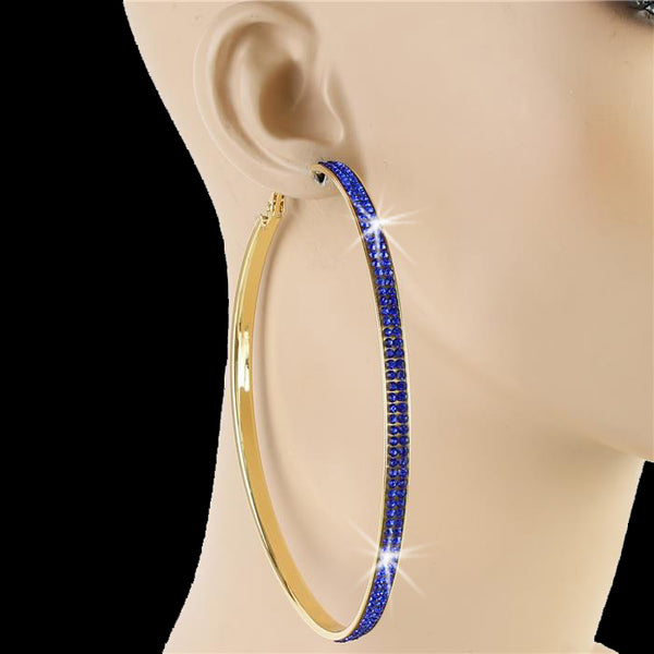"4"" Pave Crystal Sapphire Blue Hoop Earrings Gold"