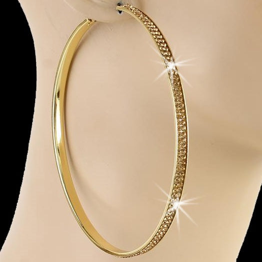 "4"" Pave Crystal Colorado Topaz Hoop Earrings Gold"