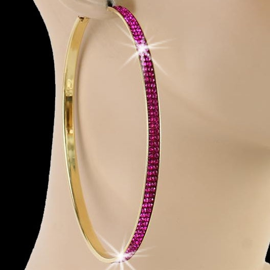 "4"" Pave Crystal Fuchsia Hoop Earrings Gold"