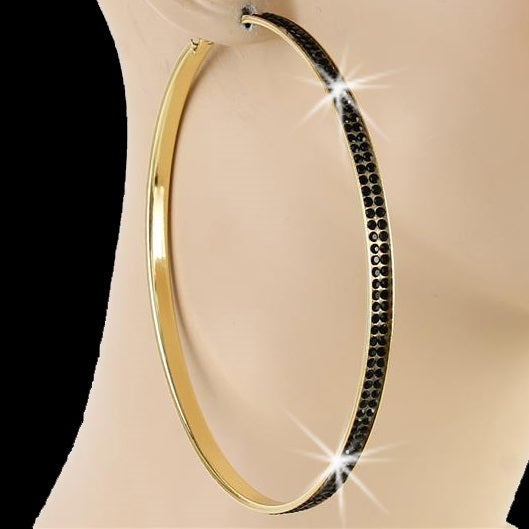 "4"" Pave Crystal Black Ice Hoop Earrings Gold"