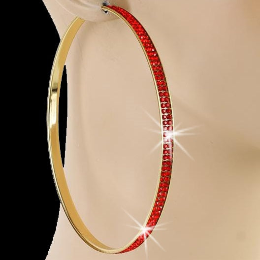 "4"" Pave Crystal Ruby Red Hoop Earrings Gold"